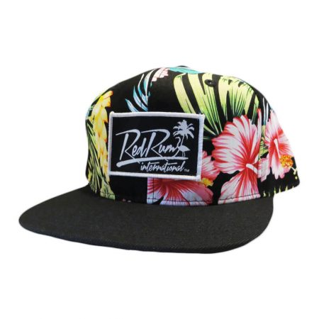 tropical black floral snapback