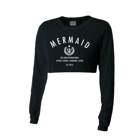 Mermaid Shirts Black Crop Top Rash Guard